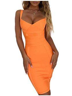 Women's Rayon Sexy V Neck Halter Spaghetti Strap Knee Length Club Bodycon Bandage Dress