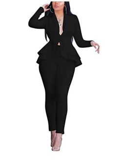 Remelon 2 Piece Outfits for Women Blazer with Pants Deep V Long Sleeve Slim Fit Ruffle Pelplum Business Suit