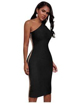 Women's One Shoulder Sleeveless Bodycon Bandage Midi Dress Fashion Club Party Dress