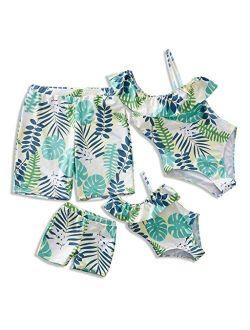 IFFEI Family Matching Swimwear One Piece Leaf Printed One Shoulder Monokini Ruffle Bathing Suit