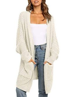 Women's Long Batwing Sleeve Open Front Chunky Knit Cardigan Sweater With Pockets
