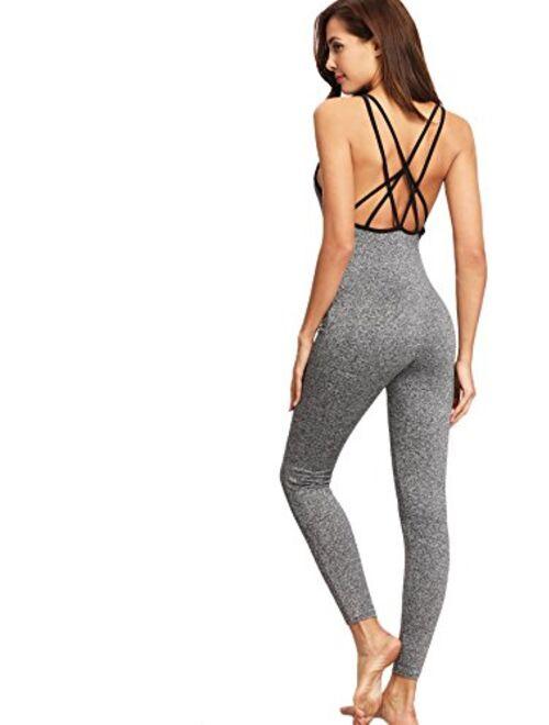 SweatyRocks Women's Spaghetti Strap Criss Cross Back Bodycon Tank Jumpsuits Rompers Playsuit