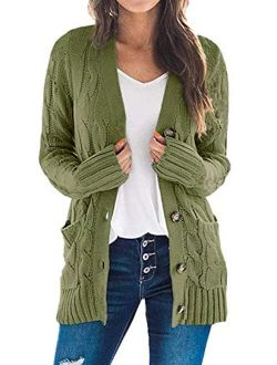 Women's Long Sleeve Open Front Knitted Cardigan Sweater Button Down Chunky Outwear Coat With Pockets