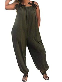 LAMISSCHE Womens Casual Solid Color Loose Fit Baggy Harem Overall Jumpsuit Sleeveless Spaghetti Strap Long Pants Rompers