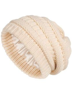 Winter Knit Beanie for Women Satin Lined Cable Thick Chunky Cap Mens Soft Slouchy Warm Hat