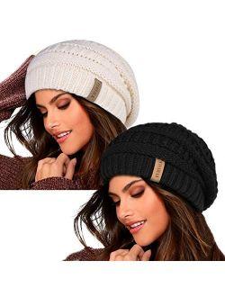 FURTALK Knit Beanie Hats for Women Men Fleece Lined Ski Skull Cap Slouchy Winter Hat 2PCS