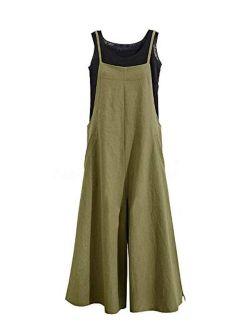 GOSO Women's Baggy Wide Leg Overalls Casual Cotton Linen Jumpsuits Suspender Trousers Romper Harem Pants