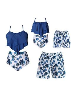 Family Swimsuits Matching Set Summer Beach Palm Bathing Suits