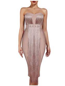 Women's Strapless Elegant Tassel Tube Dress Bodycon Party Bandage Dress