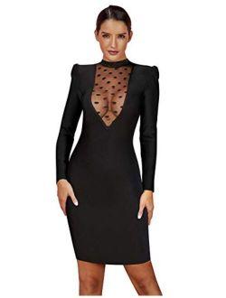 Women's Long Sleeve V-neck Mesh Bandage Mini Bodycon Party Dress
