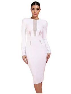 Women's Long Sleeves Mesh Panel Knee Length Club Party Bodycon Bandage Dress