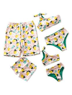 IFFEI Mommy and Me Family Matching Swimsuit One Piece Beach Wear Summer Lemon Sporty Monokini Bathing Suit