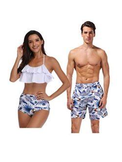 Jumojufol Women Men Couple Swimsuits Matching Swim Trunk Bikini 2 Pack