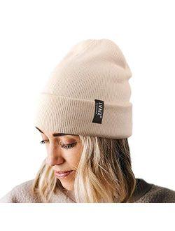 Lvaiz Winter Knitted Cuffed Beanie for Women Unisex Cotton Slouchy Rib Knit Men Watch Hat Acrylic Skull Cap