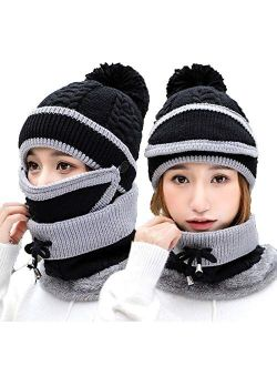 Eseres Knitted Hat Mask Neck Gaiters 3Pcs Beanies Women Scarf and Hat Unit