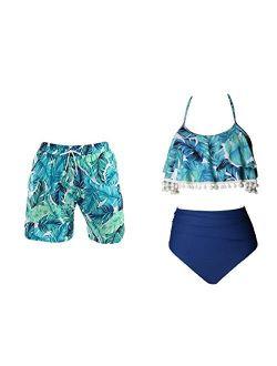 WPNAKS Couple Matching Swimsuits Swim Trunk and High Waist Bikini Set Beach Swimwear for Women and Men