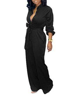 Tbahhir Women's Black and White Colorblock Long Sleeve Jumpsuit Wide Leg Long Pants Romper Overalls