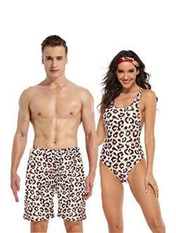 Jumojufol Couple Swimsuits Matching Leopard Swim Trunk 2 Pack