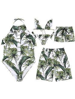 Family Matching Leaf Print Swimwear Beachwear Mom&Girl Open Back Swimsuit Dad&Boy Swim Trunks with Drawstring