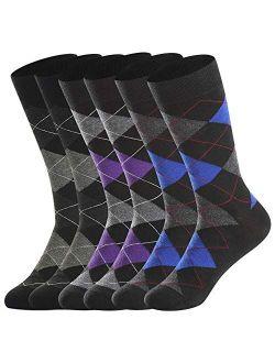 Merino Wool Socks for Men Lightweight ,Winter Therminal Wool Dress Socks ,Crew Socks, Sweat-wicking ,Black & Argyle,Gifts