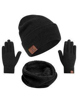 mysuntown Hat Scarf and Glove Set, Women Winter Hats 3-Piece, Beanie Neck Warmer and Touchscreen Gloves for Men