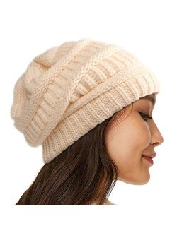 Womens Satin Lined Winter Beanie Cable Knit Beanie for Men Silk Lining Thick Chunky Cap Soft Slouchy Warm Hat