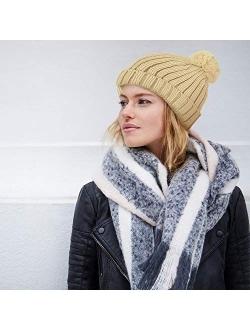 Winter Pom Pom Beanie Hat - Cute Knit Yarn and Warm Fleece-Lined Slouchy Skull Ski Cap for Women
