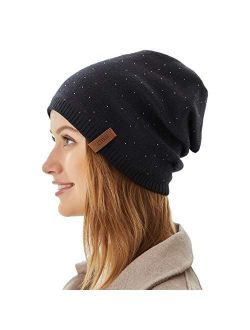 Women Winter Beanie Knitted Hats Warm Soft Slouchy Cashmere Headwear Cap for Womens Lady Mother