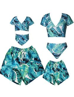 Blue Leaves Family Matching Swimsuit Tankini 2 Piece Set, Matching Swimwear for Dad Mom Son Daughter