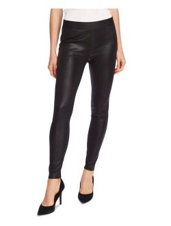 Faux-Leather Snake-Pattern Pull-On Pants