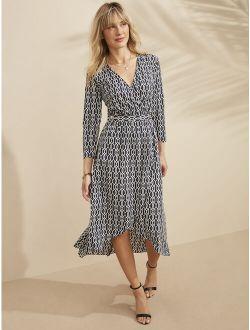 Women's Long Sleeve Printed Midi Wrap Dress