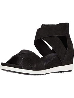 Womens Viv Leather Open Toe Wedge Sandals