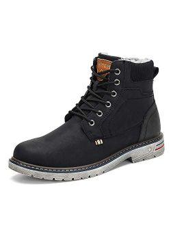 Men's Women's Winter Outdoor Hiking Snow Boots Warm Ankle Bootie Black 11.5 Women/10 Men