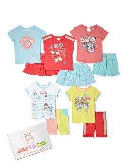 Girls Shore Party Mix & Match Kid-pack Gift Set, 10-piece Outfit Set, Sizes 4-10