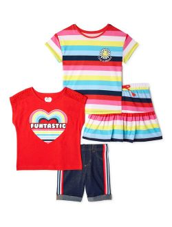 Girls Graphic T-shirts, Scooter And Bermuda Shorts, 4-piece Outfit Set, Sizes 4-10