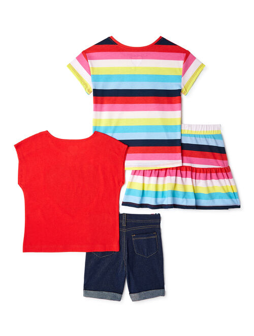 365 Kids From Garanimals Girls Graphic T-Shirts, Scooter and Bermuda Shorts, 4-Piece Outfit Set, Sizes 4-10