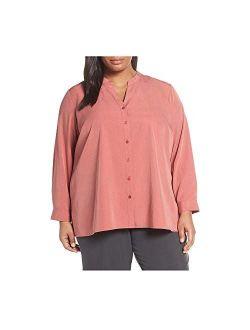 Womens Plus Tencel Split Collar Button-down Top Pink 3x