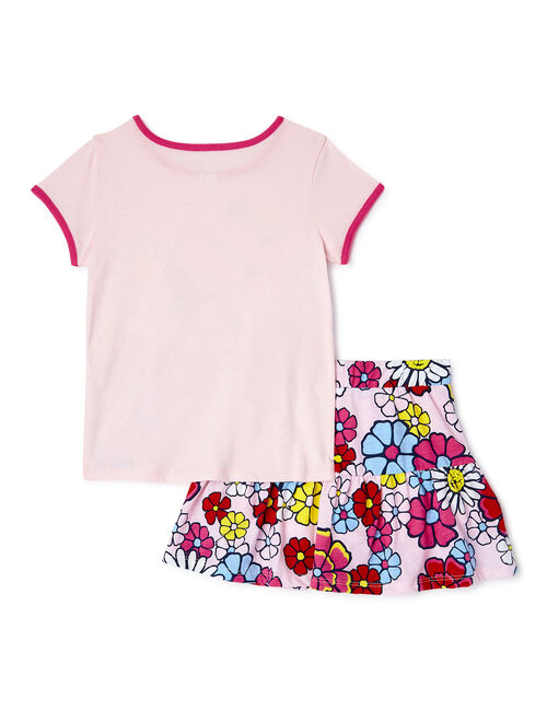 365 Kids From Garanimals Girls Peanuts Graphic T-Shirt and Scooter, 2-Piece Outfit Set, Sizes 4-10