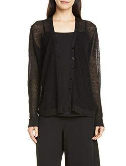 Black Fine Organic Linen Crepe Knit V- Neck Cardigan