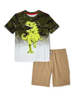Boys Sequin Dino Outfit Set, 2-piece, Sizes 4-10