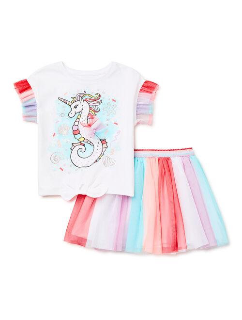 365 Kids From Garanimals Girls Graphic Ruffle Tee and Tutu Skirt, 2-Piece Outfit Set, Sizes 4-10