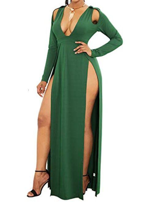 Enggras Women's Plunging V Neck Maxi Dress Double High Slit Long Dress Long Sleeve Party Evening Beach Dress