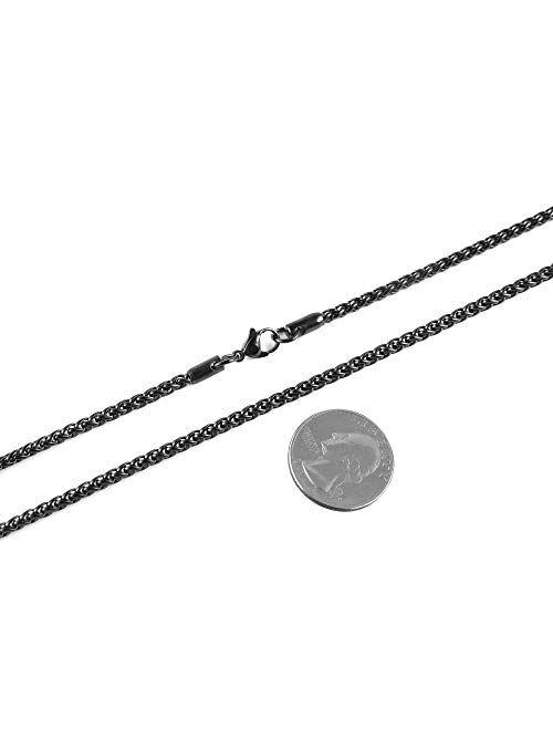 """HZMAN 3.0 mm Stainless Steel Wheat Silver Chain Necklaces for Men & Women 16"""" -30"""""""