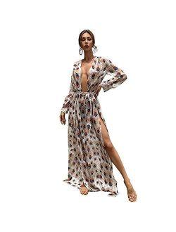 Miss ord Women's Deep V Long Sleeve Slim Split Maxi Dress with Belt