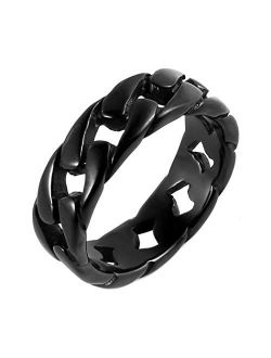 Mens Stainless Steel 7mm Wide Band Cuban Link Chain Ring, 5 Colour