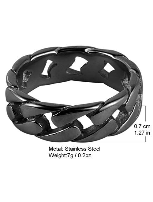 HZMAN Mens Stainless Steel 7mm Wide Band Cuban Link Chain Ring, 5 Colour