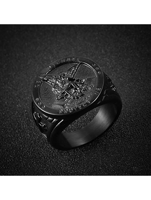 HZMAN St. Michael San Miguel The Great Protector Archangel Defeating Satan Figurine Stainless Steel Amulet Ring