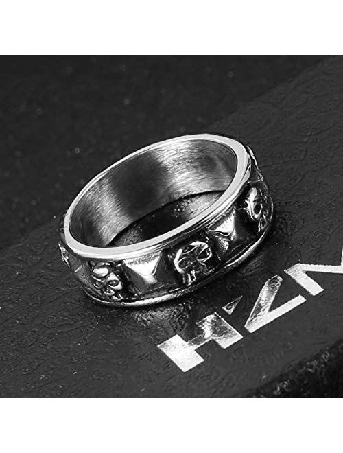 HZMAN Men's Punk Goth Skull Ring Silver Stainless Steel Hip hop Bands