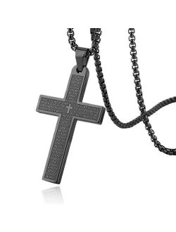 Stainless Steel Mens Womens Cross Necklace Lord's Prayer Pendant, 4 Colors Available