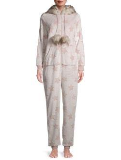 Women's And Women's Plus Faux Fur Trimmed Union Suit